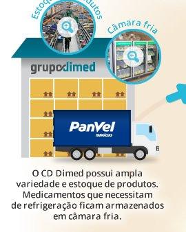 O CD Dimed possui ampla variedade e estoque de produtos. Medicamentos que necessitam de refrigeração ficam armazenados em câmara fria.
