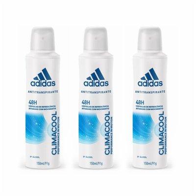 9c1a8d62d Kit Desodorante Adidas Aerosol Climacool Feminino 150ml - Leve 3 Pague 2