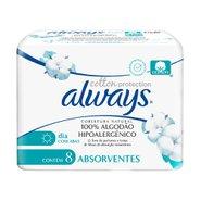 Absorventes  Always Cotton Protection Cobertura Natural Com Abas 8 Unidades