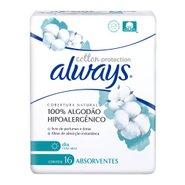 Absorvente Always Cotton Protection Cobertura Natural Com Abas 16 Unidades