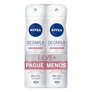 Kit Desodorante Aerosol Nivea Deomilk Sensitive Leve Mais Pague Menos 2 Unidades 150ml Cada