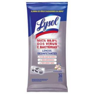 Lenços Desinfetantes Lysol Brisa Da Manhã Com 36 Unidades