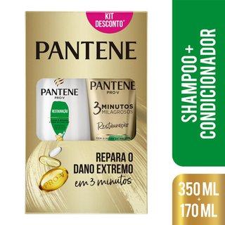 Kit Pantene Restauração Shampoo 350ml + Condicionador 3 Minutos Milagrosos 170ml
