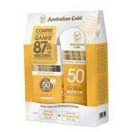 Kit Protetor Solar Australian Gold Toque Seco Fps50 200g + Protetor Solar Facial Fps50 50g