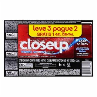 Creme Dental Em Gel Closeup Proteção 360º Red Hot Leve 3 Pague 2 90g