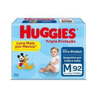 Fralda Huggies Tripla Proteção Hiper M Com 92 Unidades