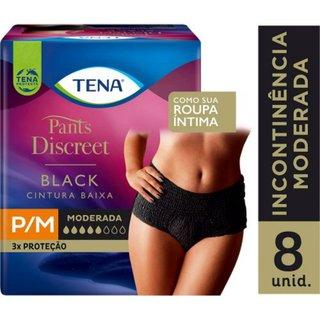 Roupa Íntima Feminina Tena Pants Discreet Black P/m Com 8 Unidades