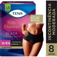 Roupa Intima Feminina Tena Pants Discreet Black G/Eg Com 8 Unidades