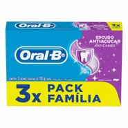 Creme Dental Oral-B Escudo Anti Acucar 70g Pack C/ 3 Unidades