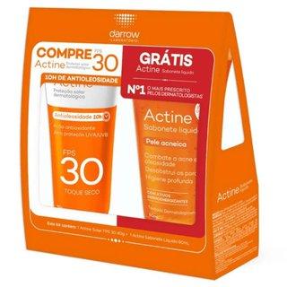 Kit Actine Protetor Solar Fps30 40g + Sabonete Líquido Pele Acneica 60ml