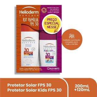 Kit Protetor Solar Helioderm Suncare Fps30 200ml + Helioderm Kids Fps30 120ml Com 50% De Desconto