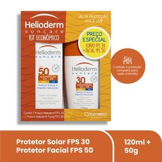 Kit Protetor Solar Helioderm Suncare Fps30 120ml + Protetor Solar Facial Fps50 50g