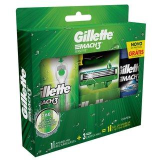 Kit Gillette Mach3 Acqua-grip Sensitive + 2 Cargas + Gel 72ml Grátis