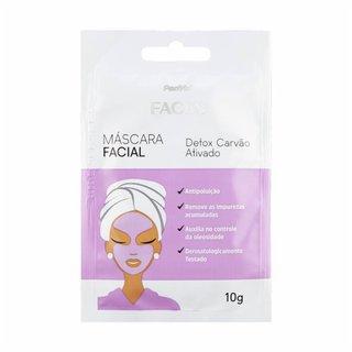 Máscara Facial De Argila Detox Carvão Ativado Panvel Faces 10g