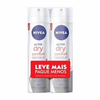 Kit Desodorante Aerosol Nivea Active Dry Comfort Leve Mais Pague Menos 2 Unidades 150ml Cada