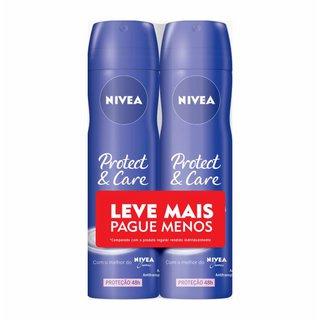 Kit Desodorante Aerosol Nivea Protect & Care Leve Mais Pague Menos 2 Unidades 150ml Cada