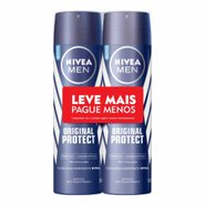 Kit Desodorante Aerosol Nivea Men Original Protect Leve Mais Pague Menos 2 Unidades 150ml Cada