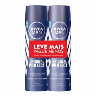 Kit Desodorante Aerosol Nivea Men Original Protect Leve Mais Pague Menos 2 Unidades 150ml Cada