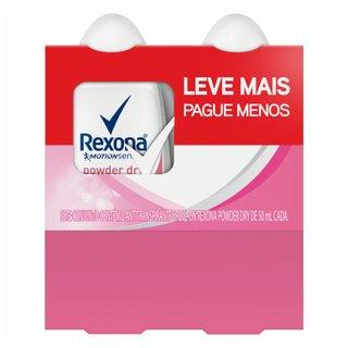 Kit Desodorante Roll-on Rexona Powder Dry Leve Mais Pague Menos 2 Unidades 50ml Cada