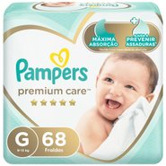 Fralda Pampers Premium Care Bag G Com 68 Unidades