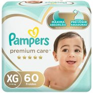 Fralda Pampers Premium Care Bag Xg Com 60 Unidades