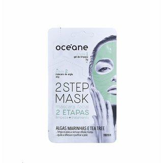 Máscara Facial Oceane 2 Etapas Gel De Limpeza 3g + Tratamento Algas Marinhas E Tea Tree 10g