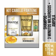Kit Pantene Liso Extremo Shampoo 400ml + Condicionador 3 Minutos Milagrosos + Ampola 15ml