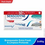 Kit Sensodyne Limpeza Profunda 90g+branqueador Extra Fresh 90g Com 50% De Desconto