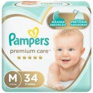 Fralda Pampers Premium Care Mega M Com 34 Unidades
