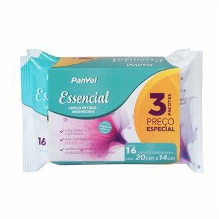 Lenços Umedecidos Feminino Panvel Essencial Com 3 Pacotes 16 Unidades Cada Preço Especial