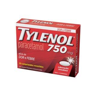 Analgésico Tylenol 750mg Com 20 Comprimidos Revestidos