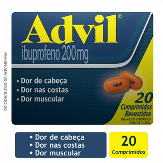 Advil 200mg 20 Comprimidos Revestidos