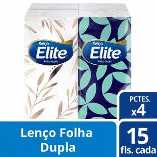 Lenço De Papel Softy's Elite Folha Dupla Com 4 Pacotes 15 Unidades Cada