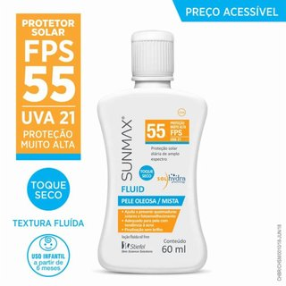Protetor Solar Sunmax Fluid Fps55 Pele Oleosa/mista 60ml