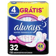 Absorvente Always Protecao Total Suave Noturno Com Abas Leve 32 Pague 26