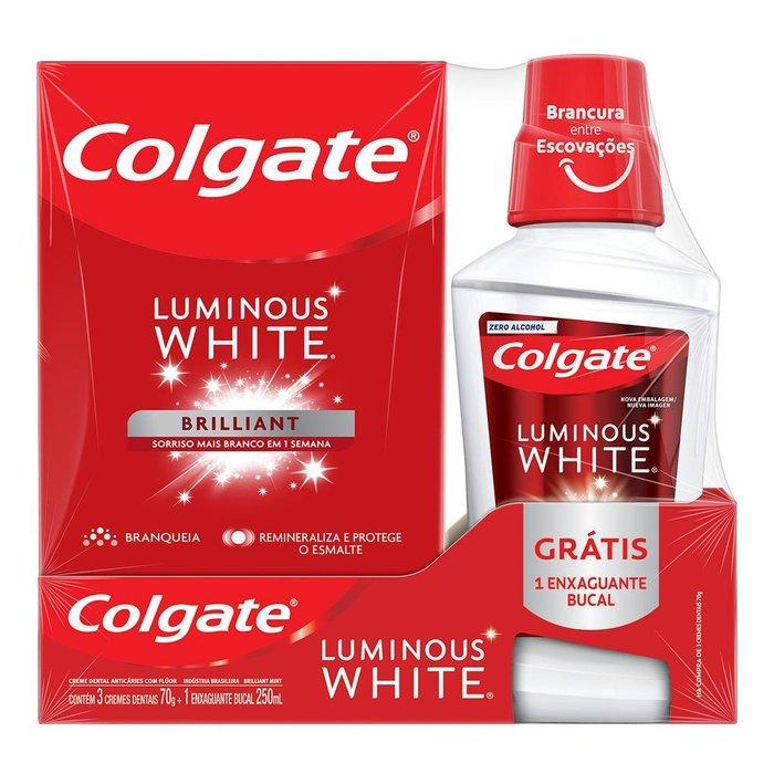 Kit Creme Dental Branqueador Colgate Luminous Brilliant White