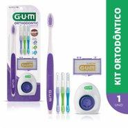 Kit Ortodontico Gum Escova Dental + 3 Escovas Interdentais + Fio Floss + Cera  Ortodontica