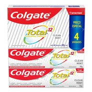 Kit Promocional Creme Dental Colgate Total 12 Clean Mint 90g Com 4 Unidades