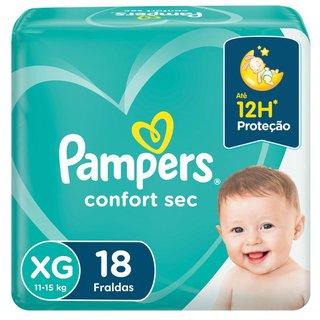 Fralda Pampers Confort Sec Pacotão Xg Com 18 Unidades