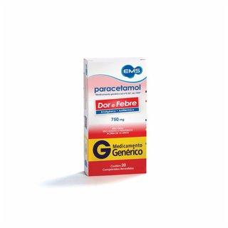 Paracetamol 750mg 20 Comprimidos Ems Genérico
