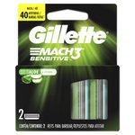 Carga Para Aparelho De Barbear Gillette Mach3 Sensitive Com 2 Unidades