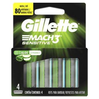 Carga Para Aparelho De Barbear Gillette Mach3 Sensitive Com 4 Unidades