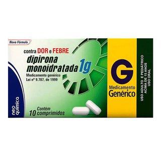 Dipirona Sod 1g 10 Comprimidos Neoquimica Genérico