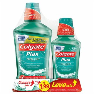 Enxaguatório Bucal Colgate Plax Fresh Mint 500ml + 250ml