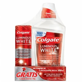 Kit Colgate Luminous White Enxaguatorio 500ml Gratis Creme Dental Luminous 70g