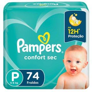 Fralda Pampers Confort Sec Bag P Com 74 Unidades