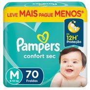 Fralda Pampers Confort Sec Bag M Com 70 Unidades