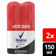 Kit Desodorante Aerosol Rexona Invisible Leve Mais Pague Menos 2 Unidades 150ml Cada