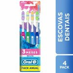 Escova Dental Oral-B Indicator Color Collection - 4 Unidades