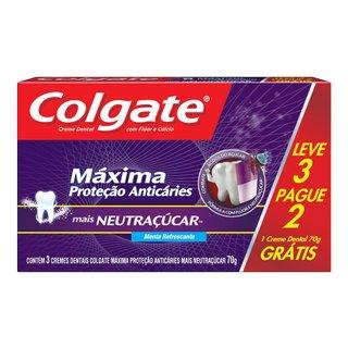 Kit Creme Dental Colgate Máxima Proteção Anticáries Neutraçúcar 70g Leve 3 Pague 2